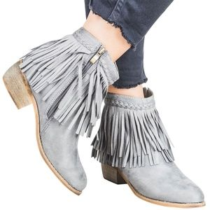 Round Toe Faux Suede Western Fringe Ankle Booties
